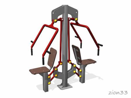 3341)Тренажер уличный двойной «Жим от груди»