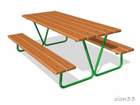 235)Стол уличный со скамьями М1