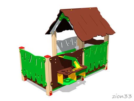 3732)Детский игровой домик «Хижина с кухней»