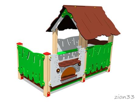 3733)Детский игровой домик «Хижина с печкой»