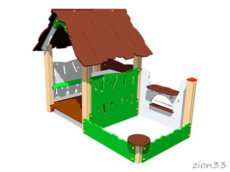 3734)Детский игровой домик «Хижина с песочницей»