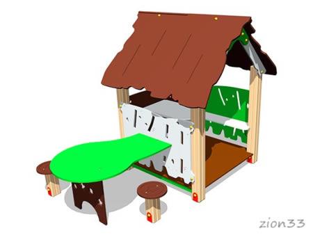 3735)Детский игровой домик «Хижина со столиком»