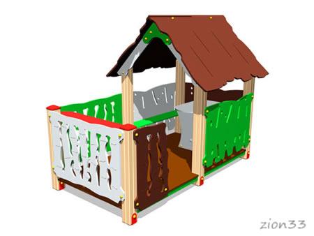 3736)Детский игровой домик «Хижина с оградой»
