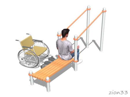 3741)Брусья в подъем со скамьей (для колясочников)
