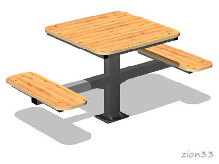3810)Стол уличный со скамьями М2