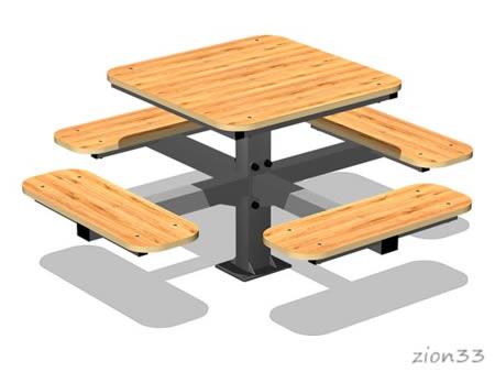 3811)Стол уличный со скамьями М3
