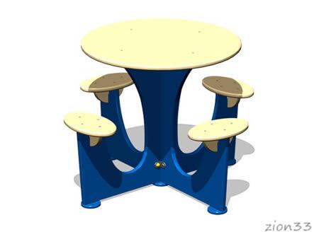 3813)Стол уличный со скамьями М5