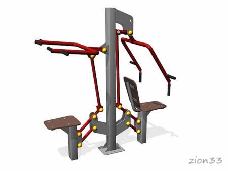 3674)Уличный тренажер «Жим и верхняя тяга»