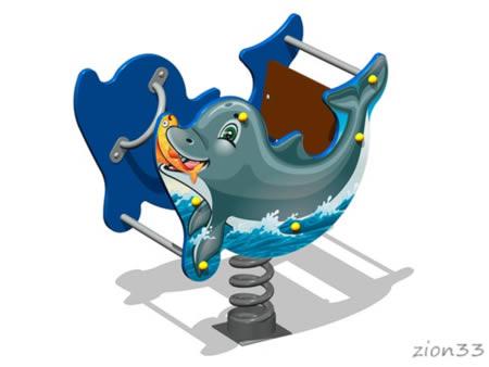 3761)Качалка на пружине «Дельфин У1»