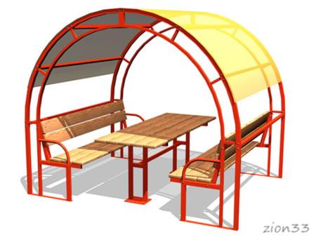 3746)Стол со скамьями и навесом М1