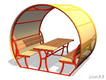 3747)Стол со скамьями и навесом М2