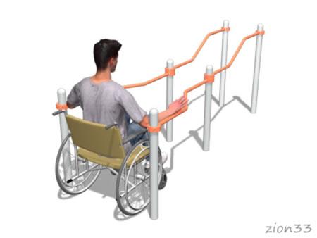 3738)Брусья двойные разноуровневые с подъемом для коляски
