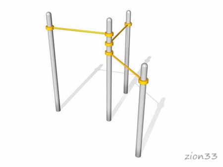 Тройной каскад турников для подтягивания ВА001 для воркаута эскиз