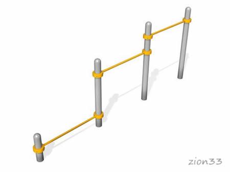 Тройной каскад турников для отжиманий и подтягивания ВА002