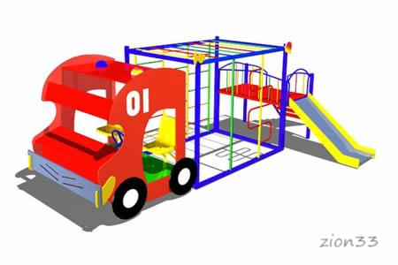 Макет-комплекс «Пожарная машина» эскиз