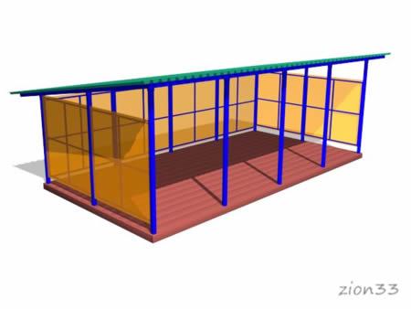 Теневой навес ТНПО 4.8 для детских площадок из металла и поликарбоната эскиз