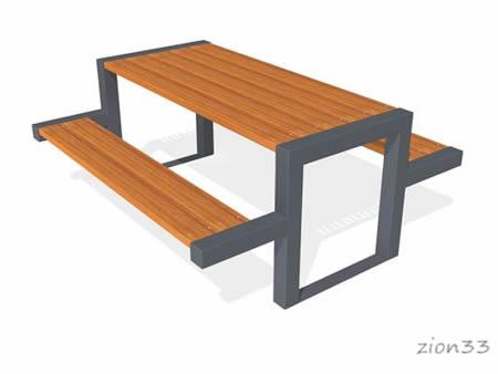 Стол уличный со скамьями «Флорида» эскиз