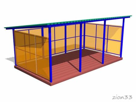 Теневой навес (прогулочная веранда) ТНПО 3.6 для детских площадок из металла и поликарбоната эскиз