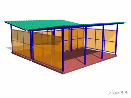 Двойной теневой навес ТНПД 7.6 для детских площадок из металла и поликарбоната эскиз