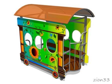 Игровой макет «Вагон-Подсолнух» эскиз
