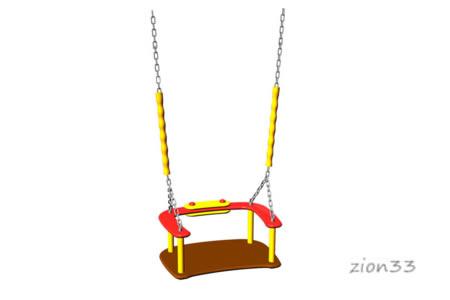 Сидение для качелей со спинкой и цепями