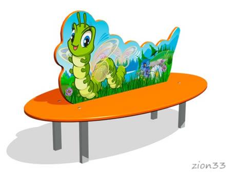 Скамейка детская «Гусеница» эскиз
