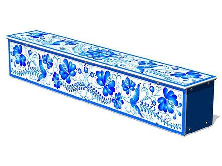 Ящик-скамья для теневых навесов «Гжель» эскиз