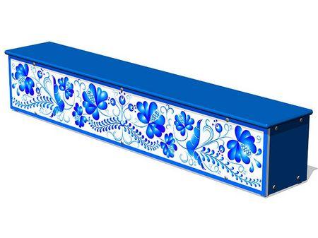 Ящик-скамья для теневых навесов «Гжель М1» эскиз