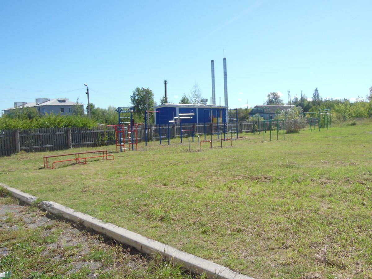 Спортивная площадка в Волосатовской средней школе - панорама